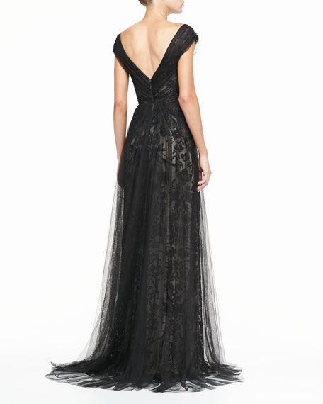 Draped Tulle Lace Gown