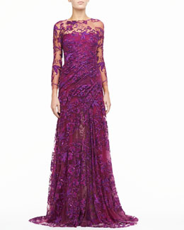 Monique Lhuillier Silk Gown with Embroidered Tulle