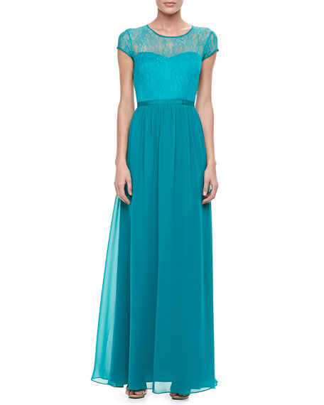Short-Sleeve Overlay-Bodice Gown
