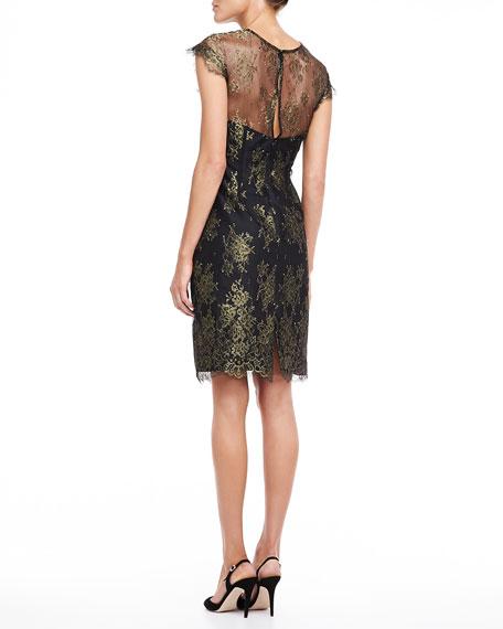 Lace Sheath Dress, Gold and Black