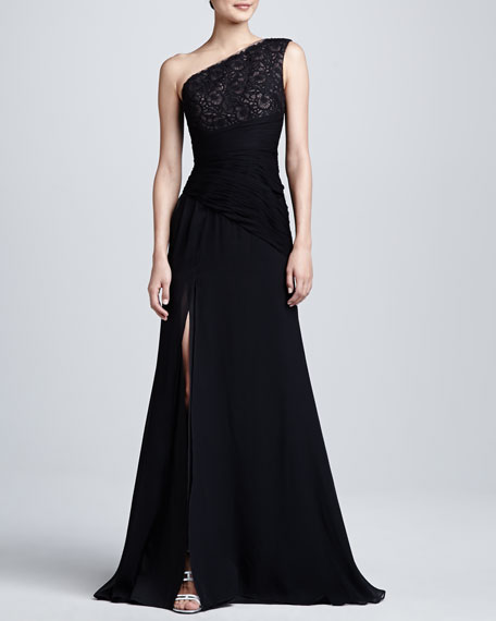 One Shoulder Embroidered Bodice Gown