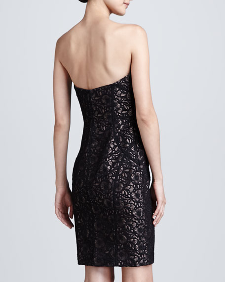 Black Strapless Embroidered Cocktail Dress