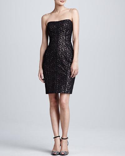 ML Monique Lhuillier Black Strapless Embroidered Cocktail Dress