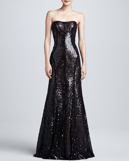 ML Monique Lhuillier Strapless Sequin Trumpet Gown