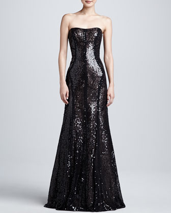 Strapless Sequin Trumpet Gown