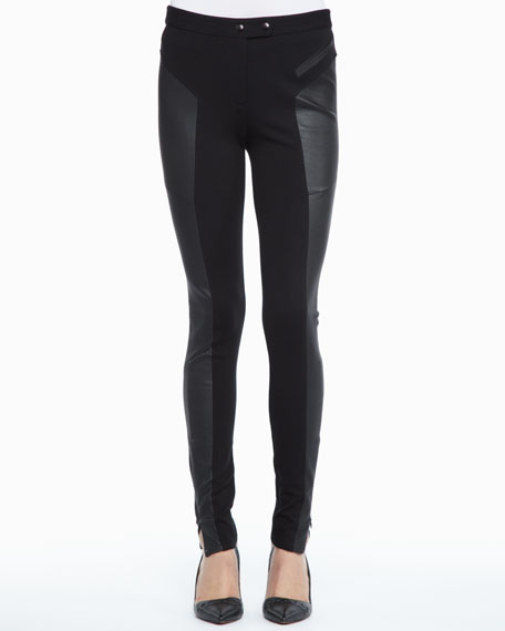 Trudie Leather-Panel Skinny Pants