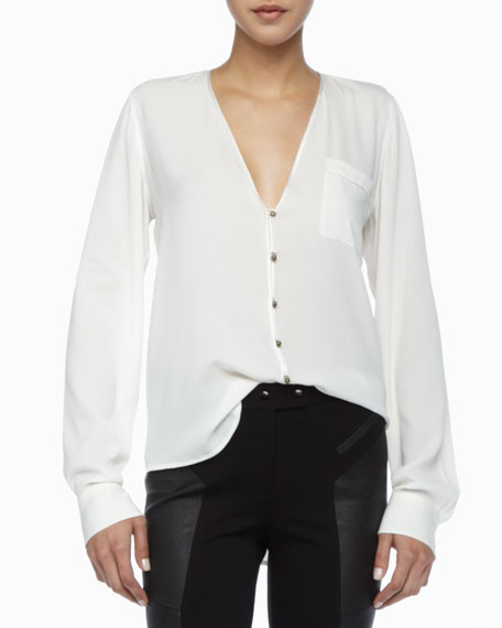 Angie Button-Front Blouse