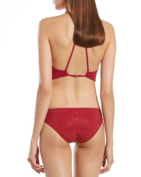 Raspberry Deep V-Neck One-Piece Swim Suit