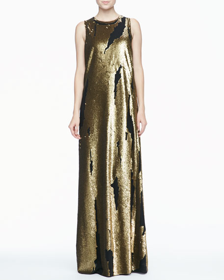 Distressed Sequined Silk Gown