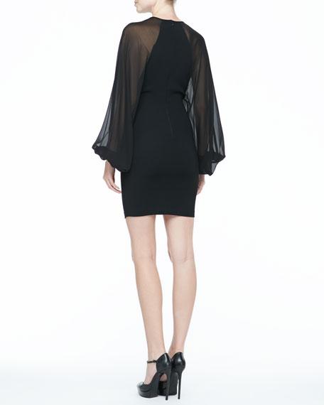 Sheer-Sleeve Crepe Dress