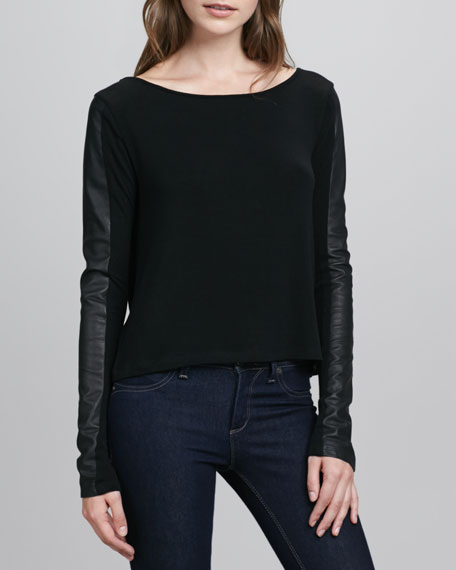 Leather-Sleeve Knit Top