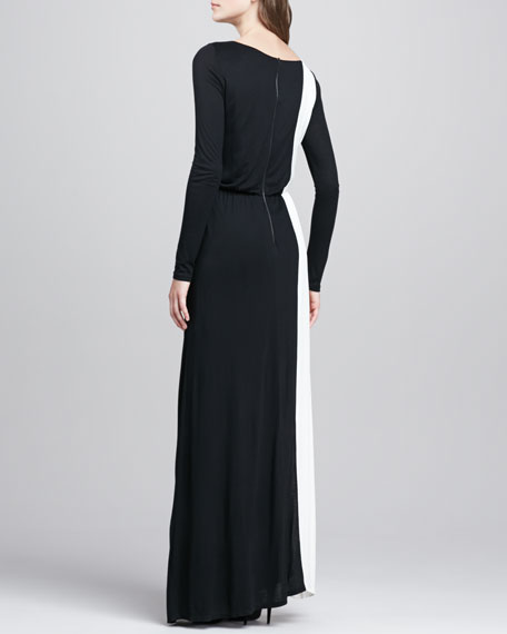 Long-Sleeve Two-Tone Maxi Dress