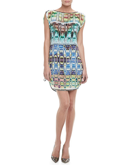Chloe Ikat-Print Drawstring Dress