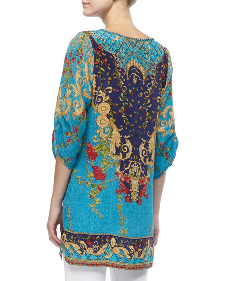Chloe Floral and Multi-Print Long Tunic, Women's