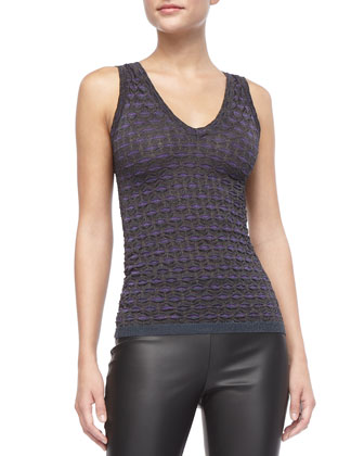 Metallic Striped Tank, Violet