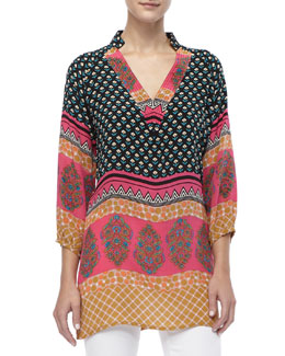 Tolani Chandra Long Printed Silk Tunic, Women's