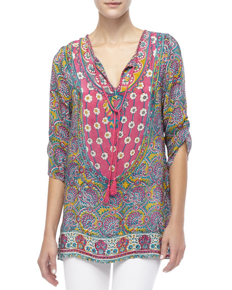 V-Neck Contrasting-Print Tunic, Women's