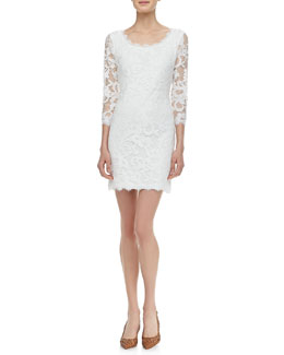 Diane von Furstenberg Zarita 3/4-Sleeve Lace Dress, White