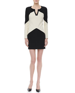 Diane von Furstenberg Sheridan Long-Sleeve Two-Tone Dress