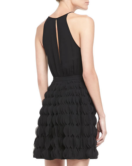 Gia Halter Ruffle-Skirt Dress
