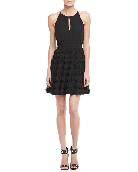 Gia Halter Ruffle-Skirt Dress