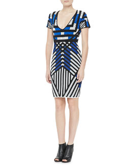 Diane von Furstenberg Lorraine Short-Sleeve Patterned Dress