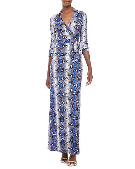 Abigail Python-Print Wrap Maxi Dress
