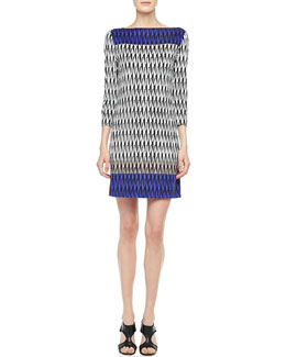 Diane von Furstenberg Ruri 3/4-Sleeve Printed Dress