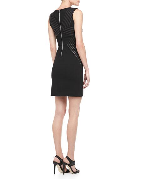 Glenda Sleeveless Leather-Stripe Dress