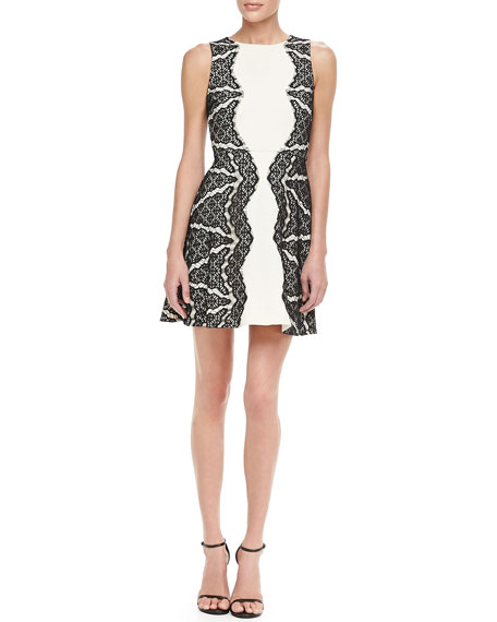 Daniella Sleeveless Lace-Panel Dress
