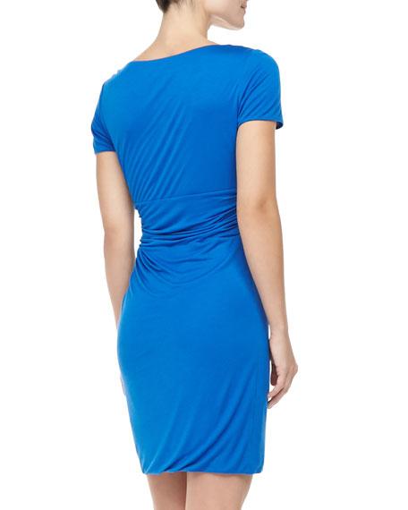 Chelsea Short-Sleeve Ruched Dress, Dark Lapis