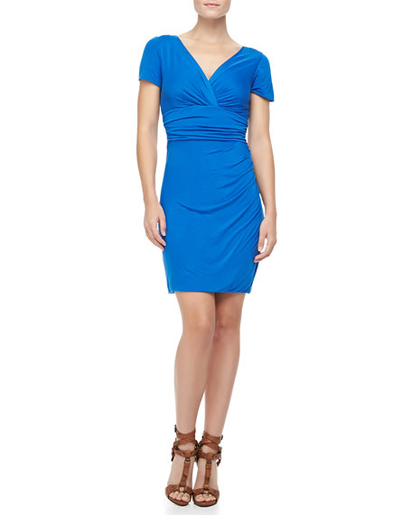Chelsea Short-Sleeve Ruched Dress, Dark Lapis