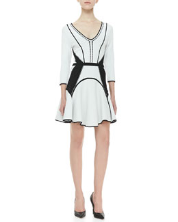 Diane von Furstenberg Rhonda Fit-and-Flare Dress, White/Black