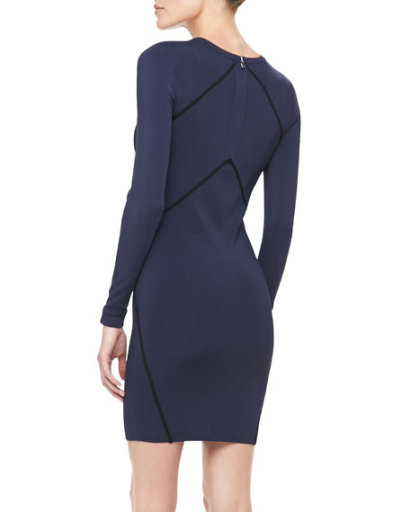Josephine Long-Sleeve Dress with Piping