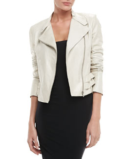 Diane von Furstenberg Heaven Long-Sleeve Leather Jacket