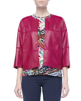 Lafayette 148 New York Liv Leather Paneled Jacket