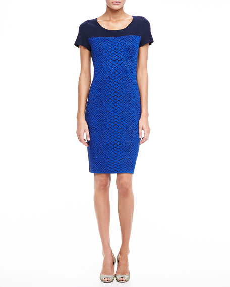 Jacquard Dress With Contrast Bodice