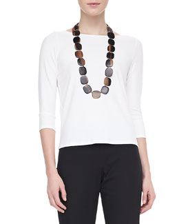 Eileen Fisher 3/4-Sleeve Cotton Tee, Women's