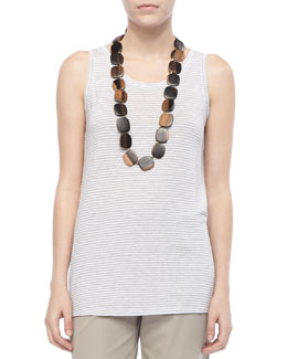 Eileen Fisher Linen Jersey Striped Tank, Women's