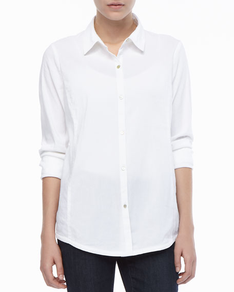 Linen-Stretch Button-Front Shirt
