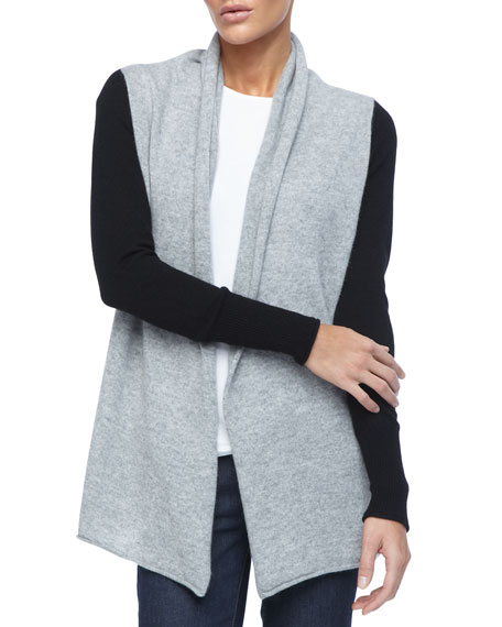 Belted Colorblock Cashmere Cardigan