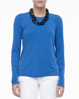 Eileen Fisher Long-Sleeve Crewneck Tee