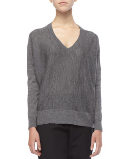 Eileen Fisher Royal Alpaca Colorblock Knit Top, Petite