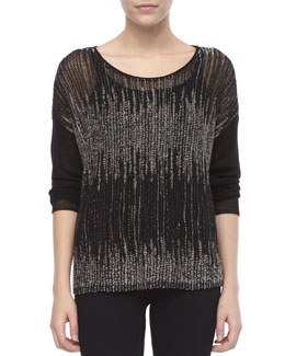 Eileen Fisher Blur-Stripe Boxy Wool/Linen Sweater, Women's