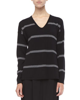 Eileen Fisher Striped V-Neck Merino Wool Top, Petite