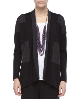 Eileen Fisher Wide-Striped Wool Cardigan, Petite