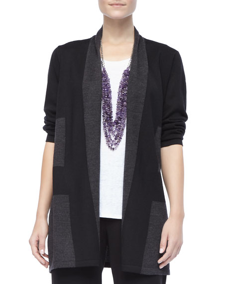 Wide-Striped Wool Cardigan, Women's
