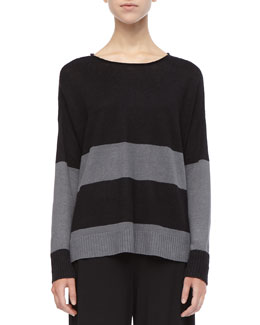 Eileen Fisher Striped Linen Long-Sleeve Top, Petite