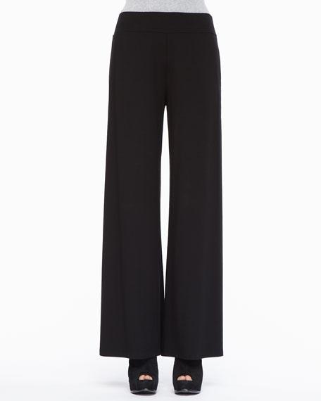 Washable Stretch Jersey Wide-Leg Pants, Women's