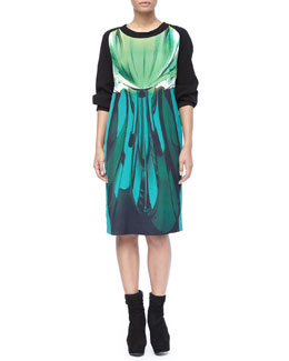 Marina Rinaldi Green Abstract Dare Dress, Women's